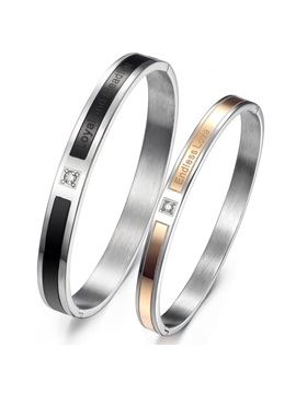 Handsome Endless Love Titanium Steel Lovers Bangles Price For A Pair