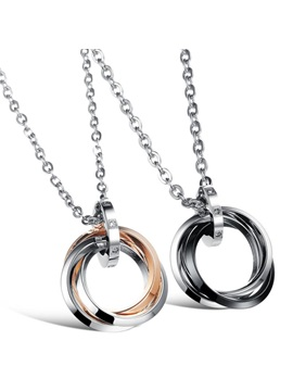 Personalized Three Circles Lovers Necklaces Price For A Pair