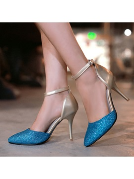 Sequins Ankle Strap Cut Out Pumps