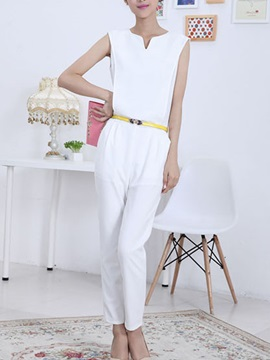 White Sleeveless Womens Rompers With Belt