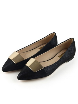 Trendy Glitter Pointed Toe Solid Color Flats