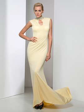Gorgeous High Neck Hollow Sequined Beaded Long Evening Dress