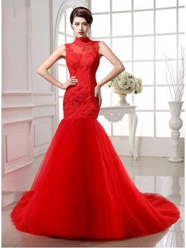 Dazzling Lace Top High Neck Button Zipper Up Mermaid Red Wedding Dress