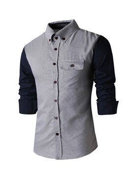 Lapel Patchwork Single Breasted Long Sleeve Shirt