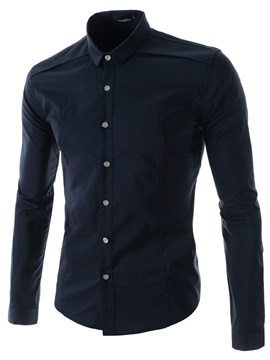 Solid Color Single Breasted Long Sleeve Shirt