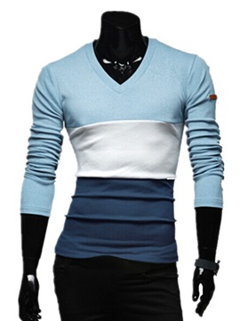Color Block Long Sleeve T Shirt