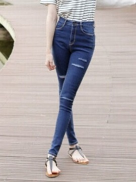 Blue High Waist Worn Skinny Jeans