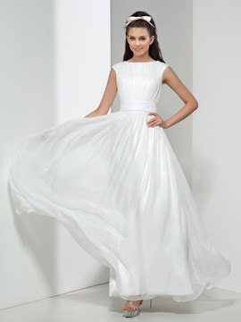 Simple Bateau Neckline Pleats Sequined Long Prom Dress
