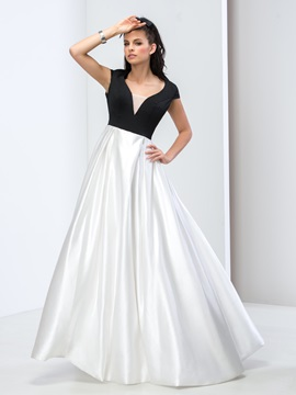 V Neck Cap Sleeves Backless A Line Prom Dress