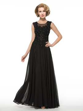 Casual Beaded Lace Floor Length Plus Size Mother Of The Bride Dress