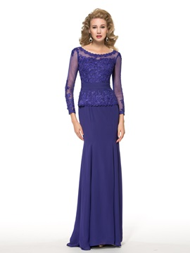 See Through Long Sleeve Lace Floor Length Trumpet Mother Of The Bride Dress