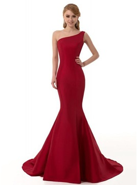 Tidebuy Consice One Shoulder Mermaid Sweep Train Long Evening Dress
