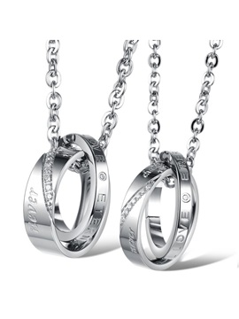 Cute Love Letters Titanium Steel Lovers Necklaces Price For A Pair