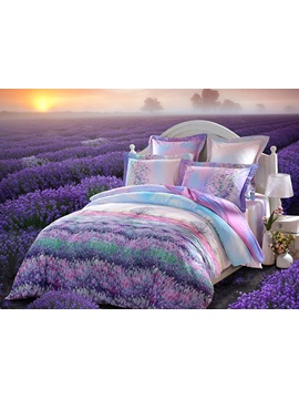 Lavender Field Printed 4 Piece Soft Cotton Duvet Cover Sets