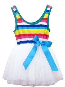 Round Neck Sleeveles Mesh Pleated Girls Dress