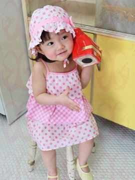 Pink Polka Dot Strap Girls Dress