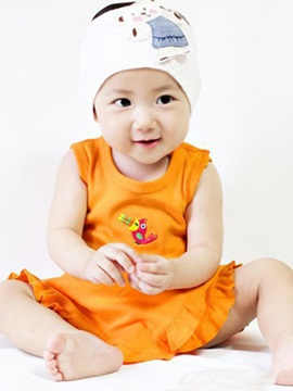 Orange Sleeveless Pleated Round Neck Girls Dress