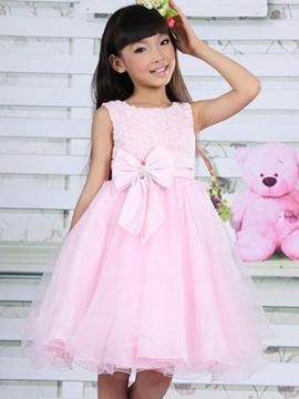 Solid Color Bowknot Belt Sleeveless Mesh Girls Dress