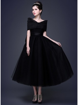 Tidebuy Timeless Straps Bowknot A Line Lace Up Tea Length Prom Dress