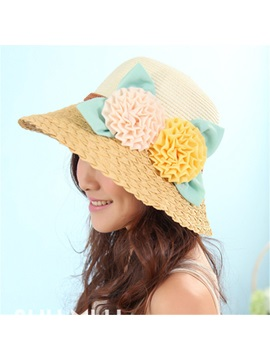 Flowers Applique Wide Brim Beach Hat