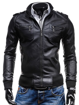 Slim Zipper Pu Jacket
