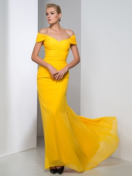Simple Off The Shoulder Pleats Sheath Long Evening Dress