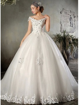 Charming Beaded Off The Shoulder Short Sleeve Cathedral Wedding Dress