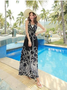 Temperament Black White Sleeveless Maxi Dress