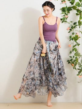 Colorful Bohemia Flowers Long Skirt
