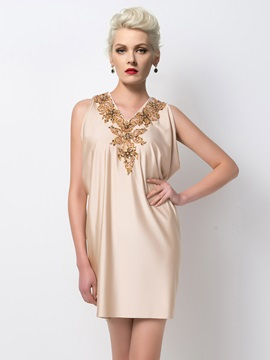 Classical V Neck Appliques Beading Draped Column Short Cocktail Dress Designed
