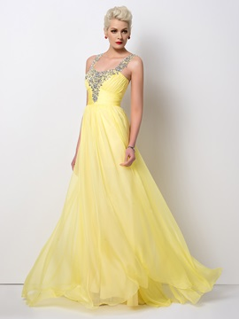 Stunning Beaded Straps A Line Long Prom Dress Designed