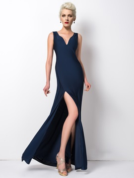 Classy Straps Split Front Sheath Pearls Long Evening Dress