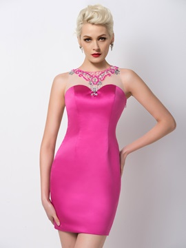 Modern Sheath Jewel Neck Sequins Beading Short Cocktail Dress