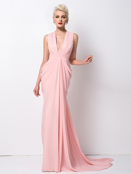 Deep V Neck Draped Sweep Train Long Evening Dress Designed