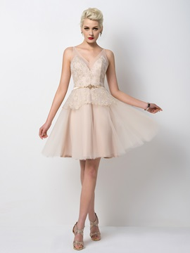 Glamorous V Neck Lace Beading A Line Short Cocktail Dress