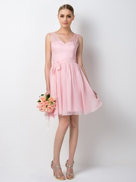 Charming V Neck Straps A Line Short Pink Bridesmaid Dress