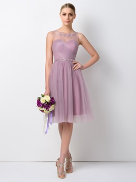 Pretty Sheer Beaded Jewel Neck Short A Line Tulle Bridesmaid Dress
