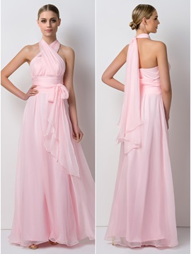 Elegant Pleated Chiffon Long Convertible Bridesmaid Dress