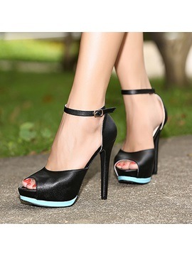 Pu Back Strap Stiletto Heel Sandals