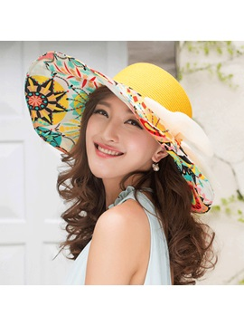 Pattern Printed With Bowknot Womens Straw Hat
