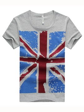 Solid Color Union Jack Print Round Tee