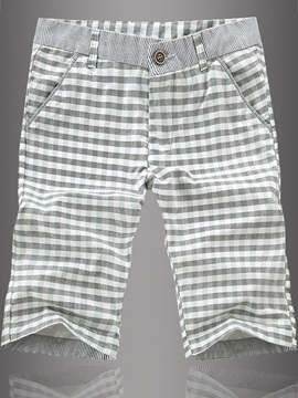 Slim Fit Cotton Plaid Shorts