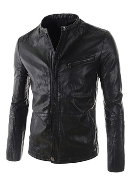 Zipper Chest Pocket Mens Motor Jacket