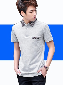 Welt Pocket Printed Collar Mens Polo