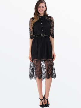 Hollow See Through Lace Polo Neck Half Sleeve Day Dress