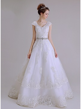 Floor Length A Line Beaded Lace V Neck Short Sleeve Wedding Dress
