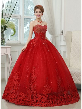 Floor Length Sweetheart Ball Gown Tulle Wedding Dress