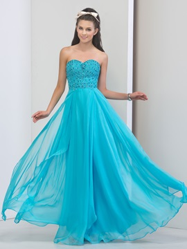 Shining Sweetheart Beaded Crystal Long Prom Dress
