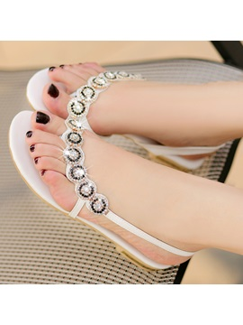 Rhinestones Decorated Flat Sandals
