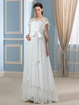 30d Chiffon V Neck Beaded A Line Pregnancy Wedding Dress